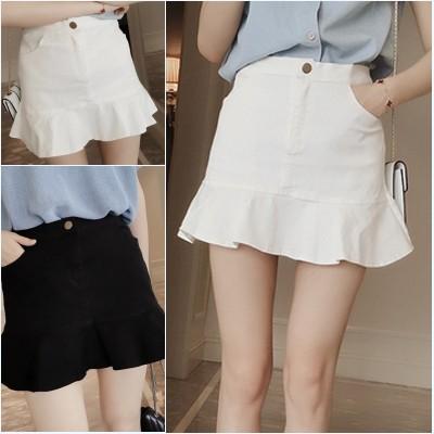❤白色S 有 ❤2016 夏裝 百搭高腰包臀裙純色A 字短裙荷葉邊魚尾半身裙學生女