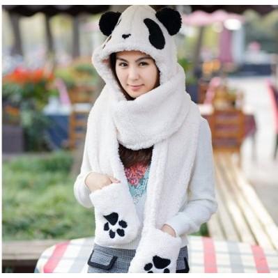 女可愛卡通萌熊貓連帽圍巾雙層加厚保暖超大帽子手套一體圍巾親子圍巾