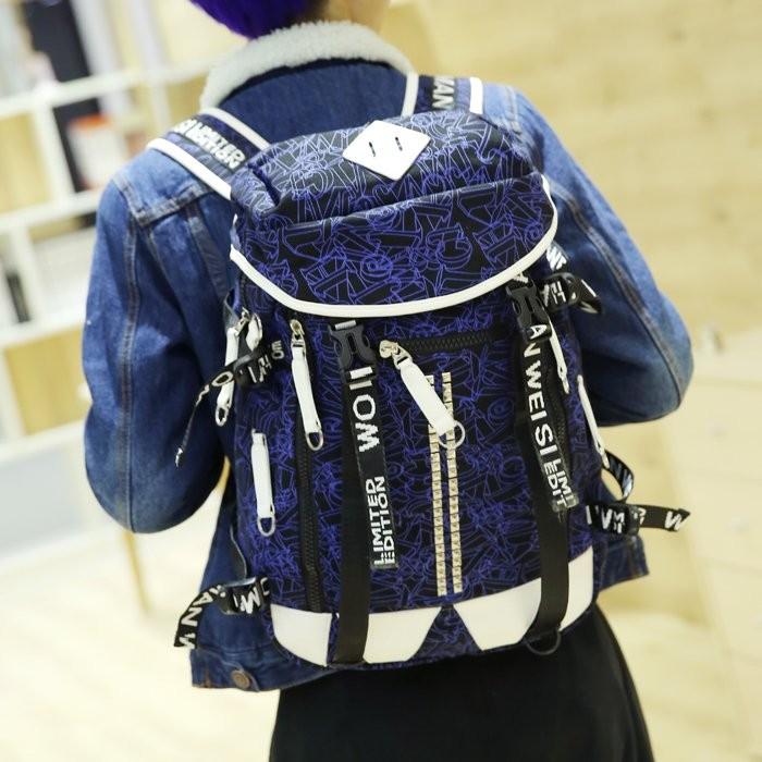 0A 純色優品小鋪 男背包雙肩包高中學生書包旅行電腦包帆布印花至潮女背包