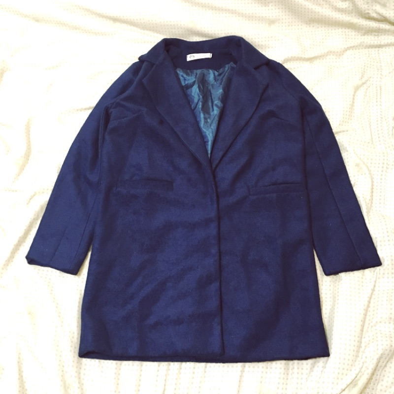 ✨NEW ✨韓國藏青色粗毛呢羊毛料大衣sizeS M ⚠️只有一件⚠️