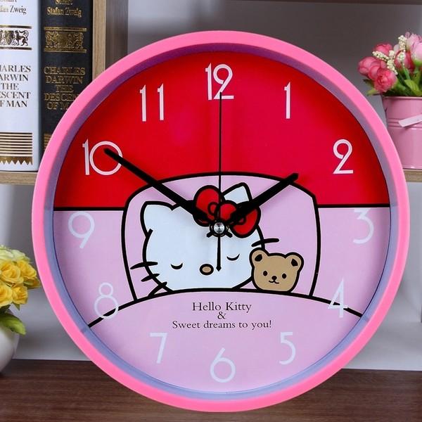 花露米 12 吋靜音掛鐘客廳臥室鐘表卡通掛鐘時鐘簡約 裝飾掛錶兒童房可愛kitty 米奇小