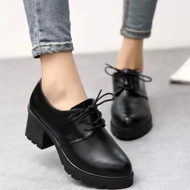 女鞋單鞋春秋鞋 尖頭中跟 2016 皮鞋百搭粗跟英倫風復古