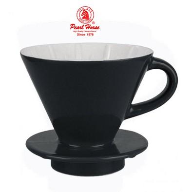 ✬啡苑雅號✬寶馬牌陶瓷錐型咖啡濾器手沖濾杯1 4 人 JA 002 02 C 黑色