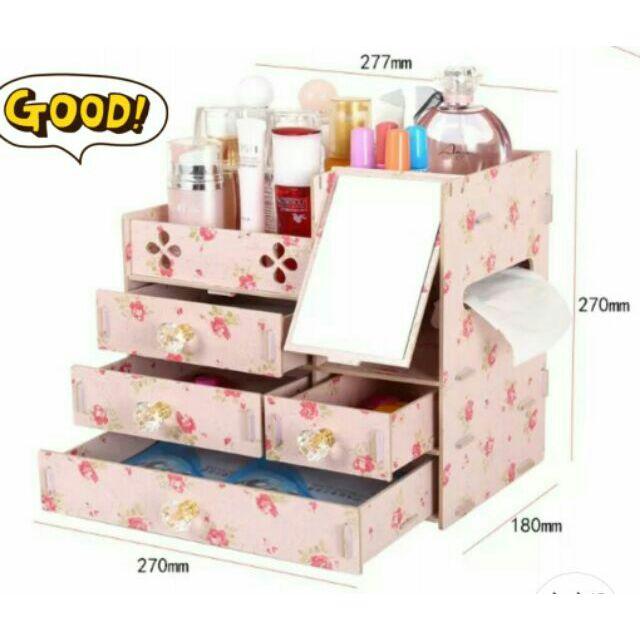 有 加大款DIY 水晶拉手化妝品收納盒~多 收納盒