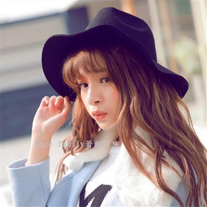 韓國極簡風英倫風羊毛呢爵士帽復古優雅英倫帽復古帽禮帽爵士帽學院風 款遮陽大檐帽子
