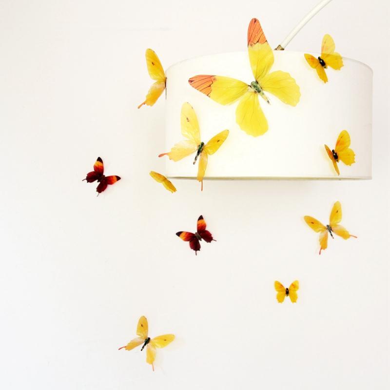 HomePlus 3D 夢幻蝴蝶黃色18 入組立體壁飾壁貼裝飾婚禮小物