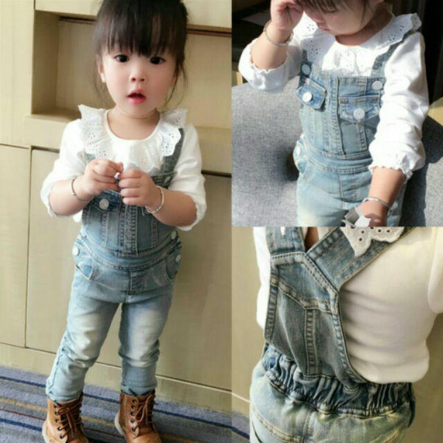 ~ ~女童寶寶可愛復古牛仔吊帶褲女孩背帶褲兒童牛仔褲長褲連身褲褲子