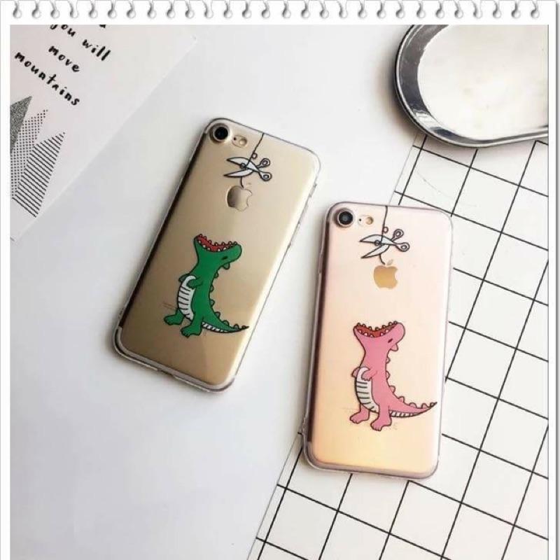 蘋果咬一口恐龍吃蘋果手機殼iPhone7 plus iPhone6 plus 透明軟殼情侶