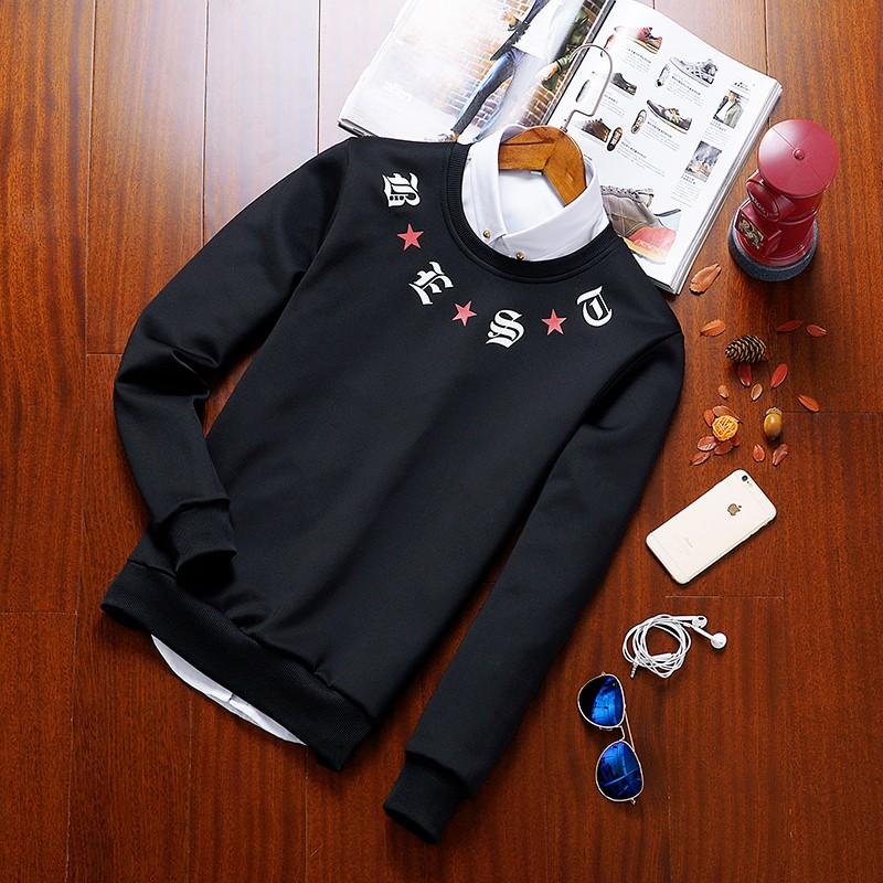 男生 套裝2016  衛衣男套頭圓領 潮牌大碼男士外套青年長袖T 恤修