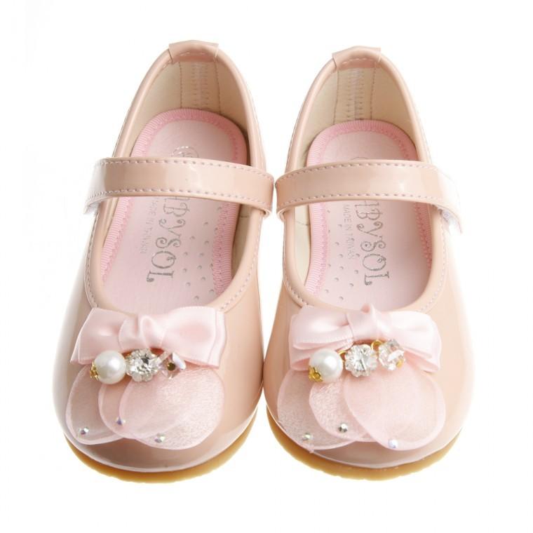 童鞋華麗珍珠蝴蝶結粉色娃娃公主鞋