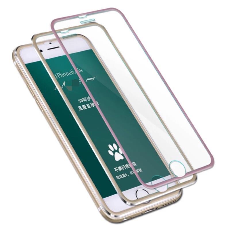 iphone6 全屏金屬邊更安全鋼化玻璃膜鋼化膜3D 全屏覆蓋玻璃貼5 5 寸