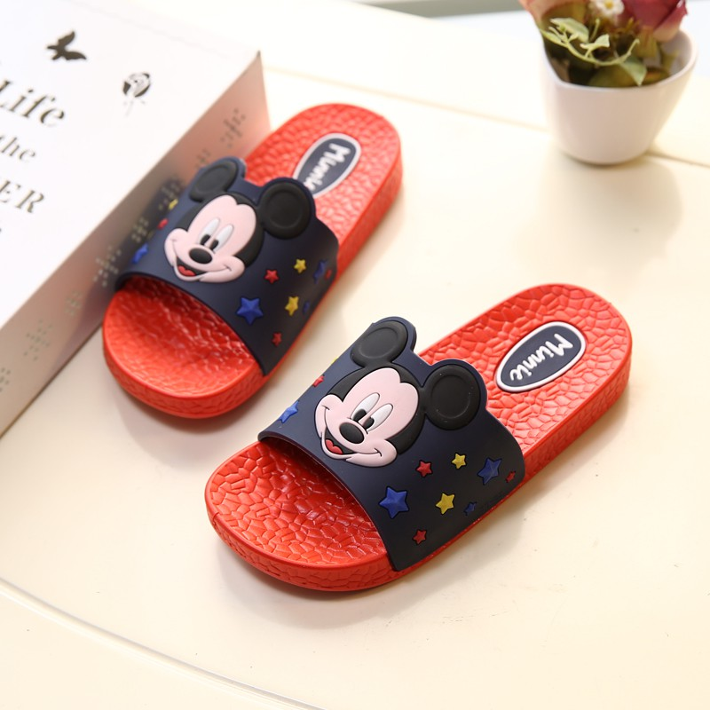 迪士尼米老鼠米奇米妮佩佩豬粉紅豬小妹兒童涼拖鞋家居防滑卡通可愛涼拖寶寶拖鞋學步鞋