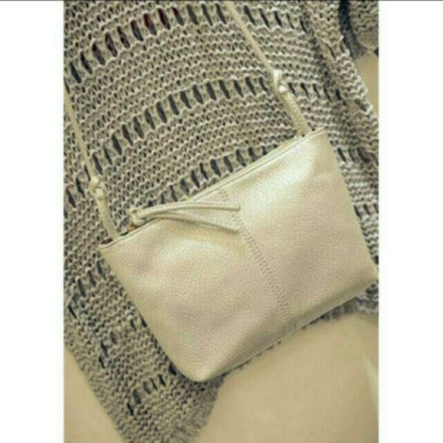 銀色水洗素面綁帶拉鍊包綁帶包斜背包肩背包小方包小包姊妹包包包