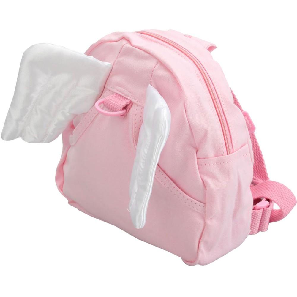 天使翅膀兒童防走失棉質背包粉紅色白翅膀21x22cm 牽引帶106cm