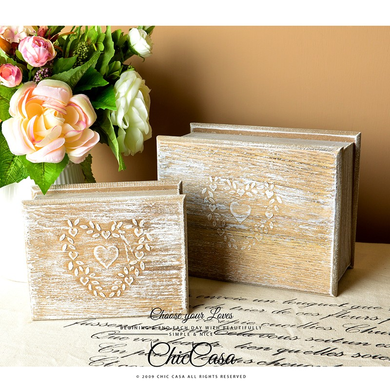Loft ×Zakka 法式鄉村洗白刷舊心型浮雕復古實木收納木盒大小一套~Chic Cas