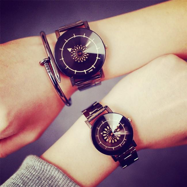情侶手錶 黑白簡約女學生潮流 複古休閒韓國青少年男錶
