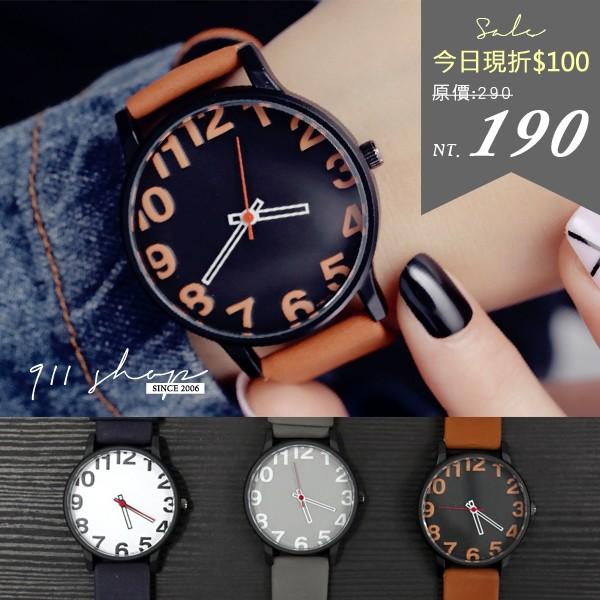 香港FEIFAN ~休閒感超大數字素面絨質皮革手錶~ta573 ~~911 SHOP ~