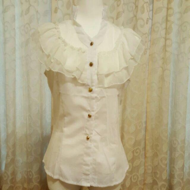 ~小佩雜貨~ 性感蕾絲拼接荷葉邊立領白襯衫