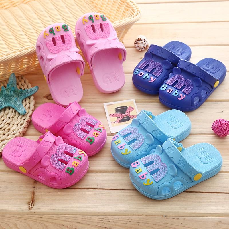3 1 色嬰幼兒寶寶嬰幼兒兒童嬰兒 夏天男童女童斑駁色字拖鞋涼鞋浴室鞋