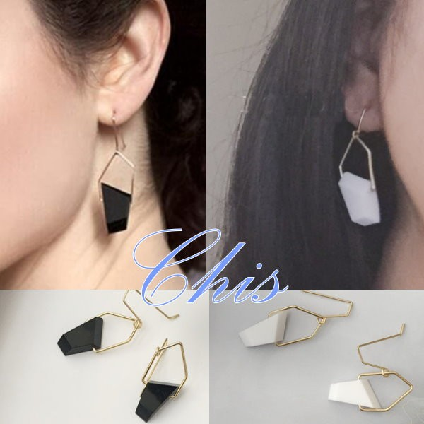Chis Store ~幾何不規則切割垂墜耳環~韓國 類水晶鏤空金屬感黑白兩色不平整耳飾可