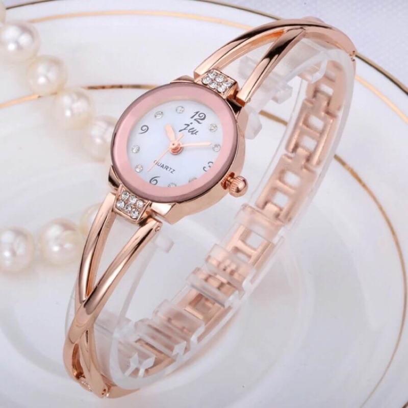 韓國手鐲水鑽金屬防水石英錶