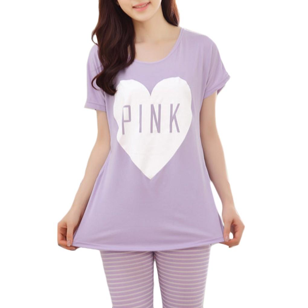 爆款短袖睡衣紫色桃心pink 短袖套裝可愛少女休閒家居服