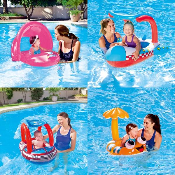正品加厚嬰幼兒童遊泳圈腋下浮圈寶寶座圈小孩救生圈遮陽