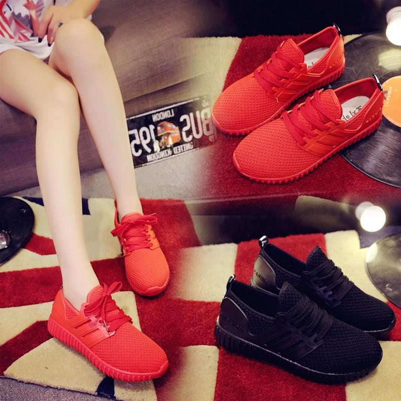 丶復古潮流小紅鞋 鞋女2016 秋 椰子鞋系帶純色跑步鞋平底百搭 女鞋