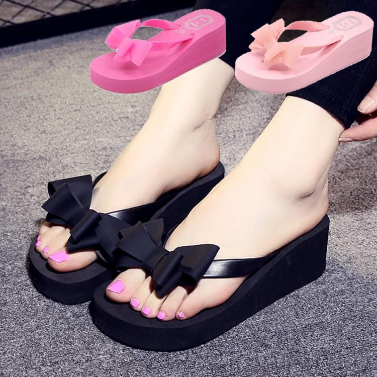 爆款拖鞋糖果色彩松糕跟花朵 蝴蝶結夾脚人字拖厚底防滑高跟凉拖鞋女式