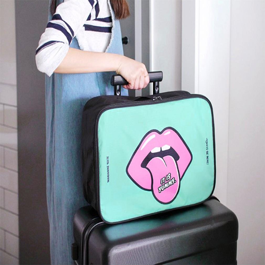 收納拉桿包 塗鴉風手提旅行防水撞色旅行拉桿行李箱 包衣物收納包手提出差小型行李包