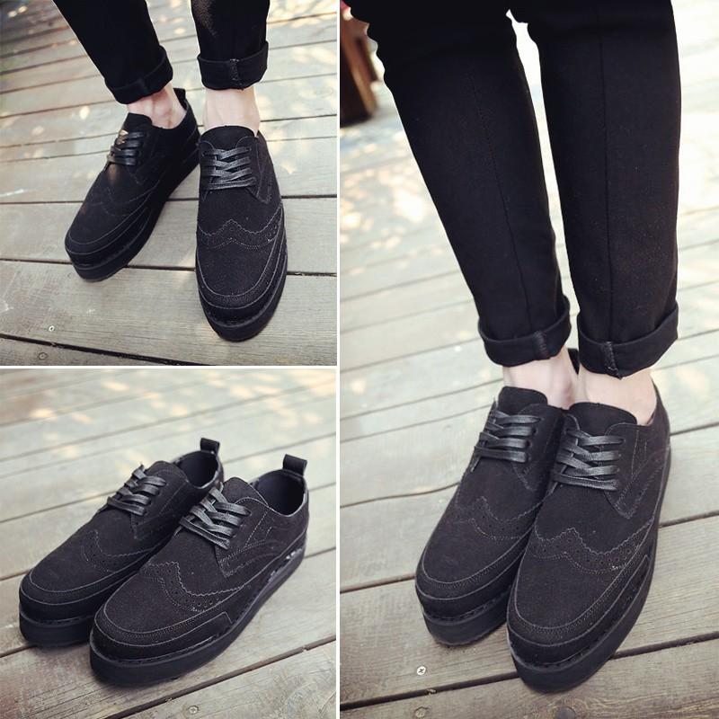 布洛克雕花男鞋子厚底松糕鞋增高 鞋英倫潮流皮鞋板鞋
