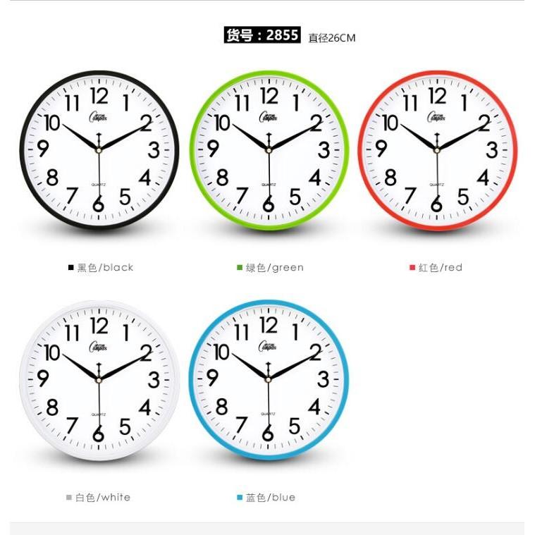 康巴絲26CM 掛鐘客廳歐式田 術鐘錶 電子石英鐘表家庭用時鐘掛表靜音準時