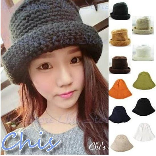 Chis Store ~ 新品韓國連線~針織毛線 辮子紋圓頂捲邊漁夫帽盆帽毛帽牛仔褲吊帶褲