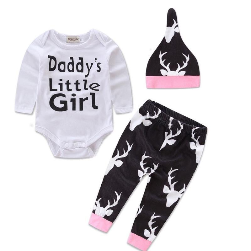 曈曈Baby 女童ins 爆款男童嬰兒長袖三角連體衣秋小鹿褲帽子三件套0 2 歲