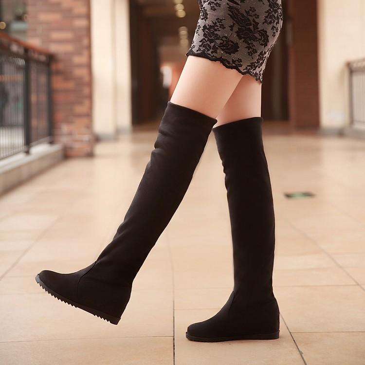 ~復古長靴 ~ 平底絨面長靴女內增高過膝彈力瘦腿長靴一腳蹬女靴子長靴過膝靴靴子 取貨大 馬