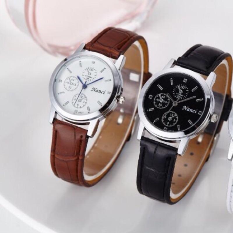 情侶對錶款 男錶閃耀夜光錶商務錶圓盤手錶藍光男友款男朋友情人節 三眼錶極簡風格296 牛皮