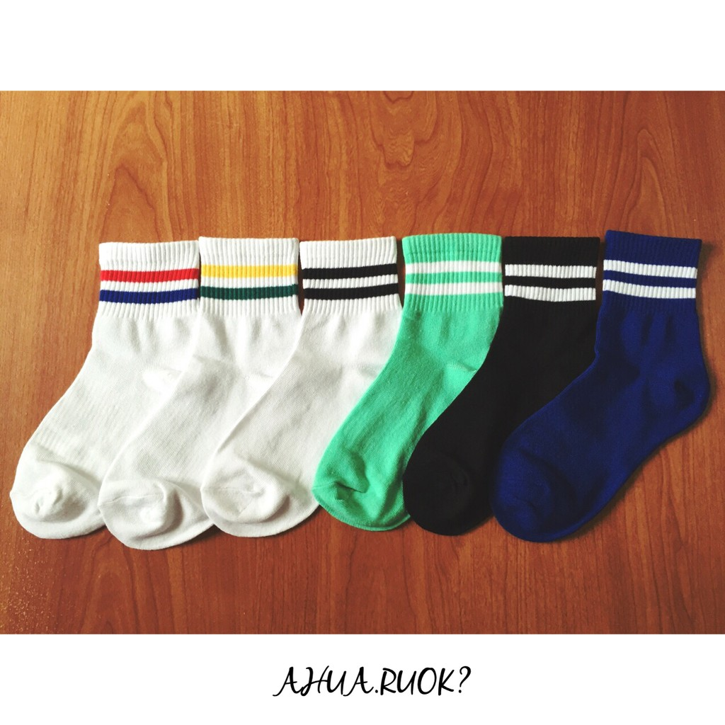 ~ 5 雙~1111 限定復古雙條紋套餐 文青情侶韓國襪子短襪長襪中筒襪絲襪隱形襪褲襪