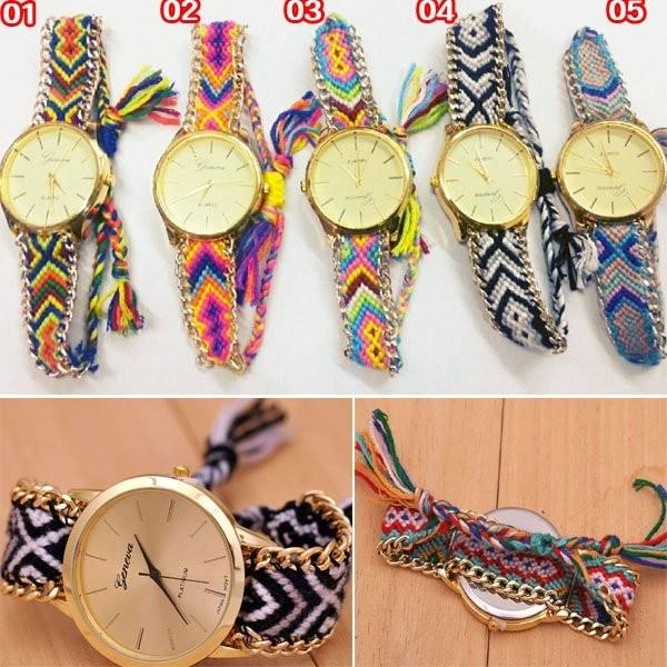 mei mei 小舖 復古手錶學生 編織樹葉手錶幸運繩編織手錶女款復古潮流手錶