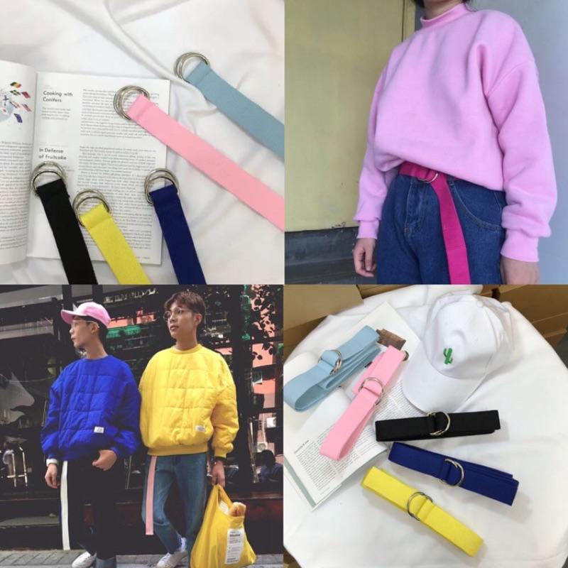 部分 韓國帆布腰帶布面皮帶圓孔刺繡腰帶金屬高腰褲穿搭 好看 超 情侶裝