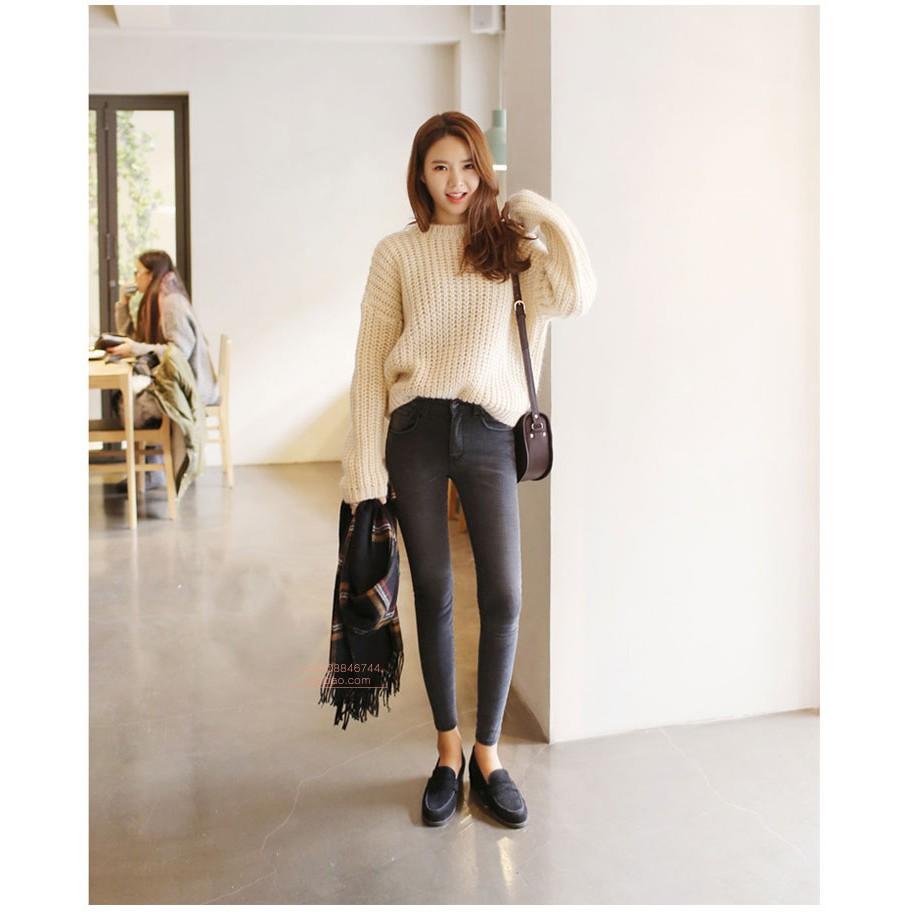 女式牛仔褲長褲加絨小腳褲女高腰加厚牛仔褲彈力修身灰色牛仔褲灰色加絨長褲