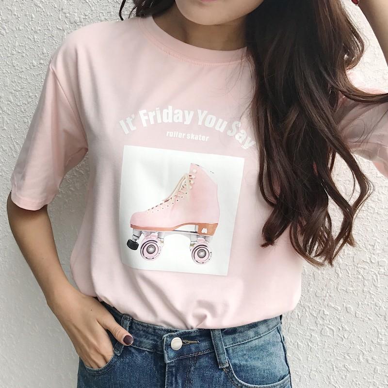 MOMO ~T 恤~實拍2017 夏 清新少女風BF 寬松字母印花T 恤閨蜜款短袖上衣洋裝
