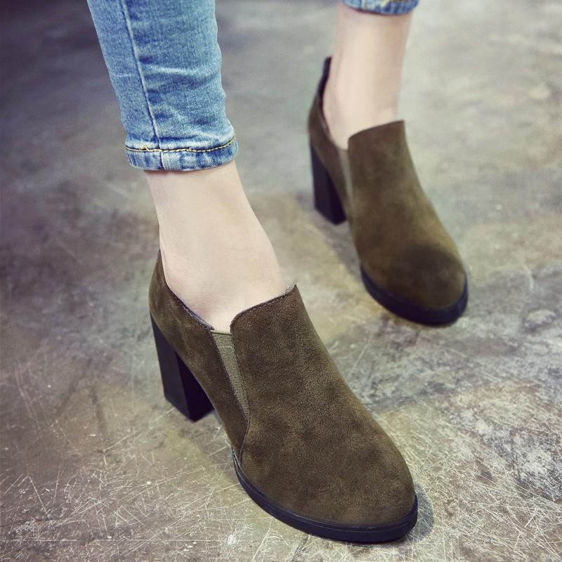 上市丶短靴短靴女春秋單靴 復古英倫風馬丁靴2016 粗跟女士高跟裸靴潮