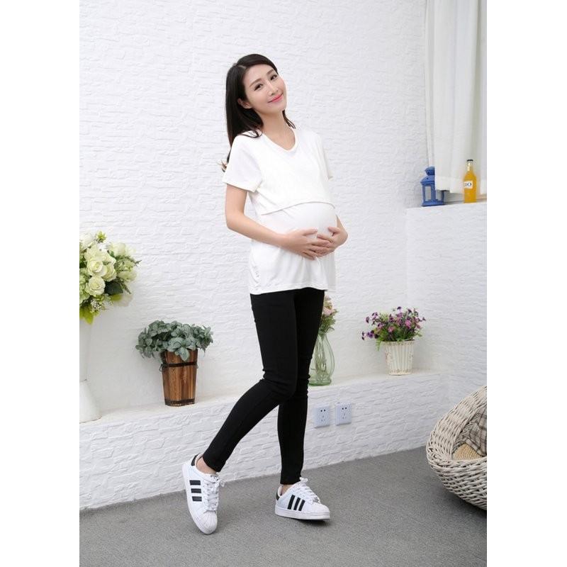 ~FMD 孕婦裝 ~韓國極簡素色交叉哺乳寬鬆圓領長版T 恤孕婦裝孕婦上衣111059