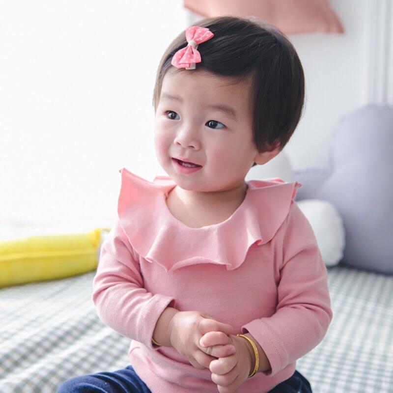 ~ C4014 ~新生兒寶寶女童純棉荷葉領上衣嬰幼童長袖上衣