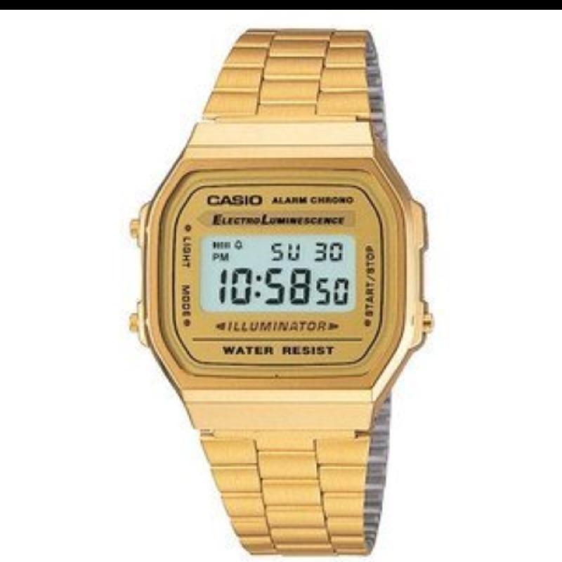CASIO 卡西歐金色復刻版復古潮流金錶方型 電子錶中性男女可戴A 168WG 9W A1