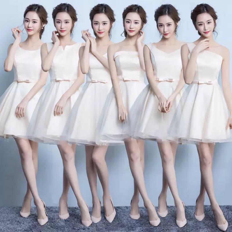 (有實拍)伴娘團禮服秋短款香檳色伴娘服姐妹裙結婚小禮服緞面伴娘裙