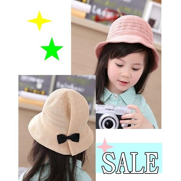 韓系遮陽帽兒童可折疊草帽蝴蝶結漁夫帽防曬帽子帽可折疊大簷帽休閒太陽帽空頂可搭沙灘包牛仔罩衫
