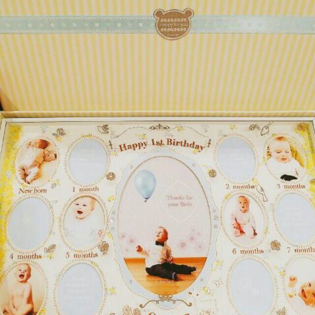 KISHIMA ANNA 黃底粉藍色小碎花KP 31072 寶寶週歲成長照片寫真紀錄相框T