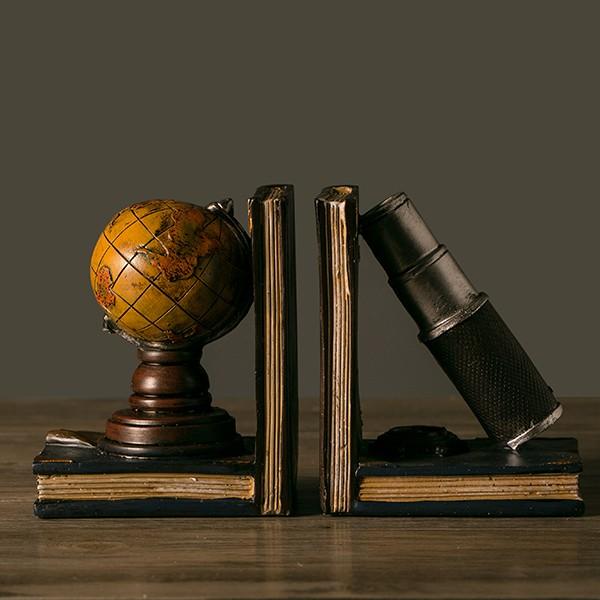 歐式復古樹脂工藝品書房客廳桌面裝飾擺件地球儀書本書靠書擋擺設