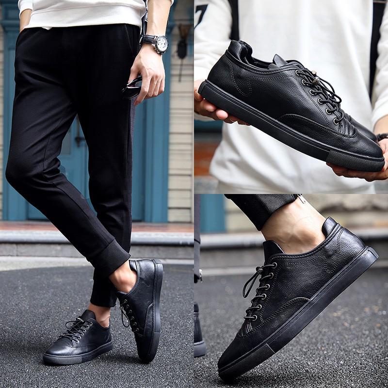 男鞋高幫鞋男 潮流休閒鞋短靴髮型師英倫皮鞋真皮板鞋
